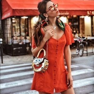 b102cc6542c Zara Dresses - Zara blogger fav linen red dress with puff sleeves
